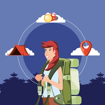 Woman tourist with landscape and set icons