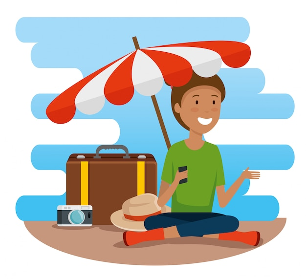 Woman tourist with umbrella and travel baggage