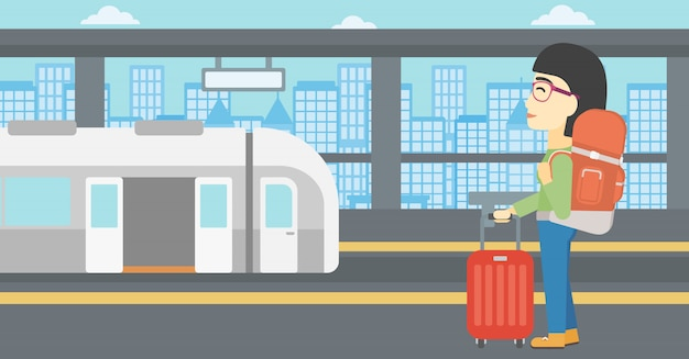 Woman at the train station vector illustration.