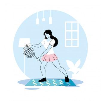女性検疫ベクトルイラストデザインの自宅でトレーニング