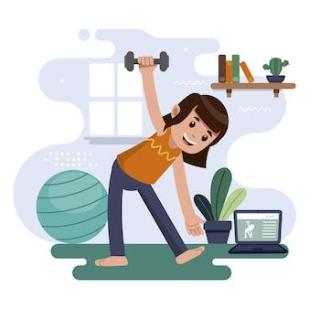 女性自宅でトレーニング