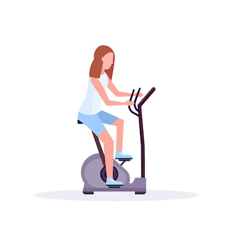 Woman training exercise bike sportswoman riding stationary bicycle girl doing spinning sport activities healthy lifestyle concept female cartoon character full length flat