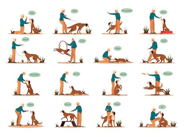 그녀의 애완견 세트를 훈련하는 여자. 명령 수업을 갖는 행복 한 강아지의 컬렉션입니다. 좋은 트레이너 야외. 앉아, 머물면서 발 명령을 내립니다.