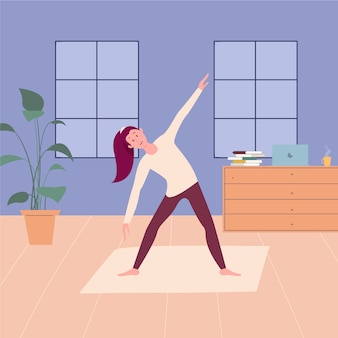 Woman training at home concept
