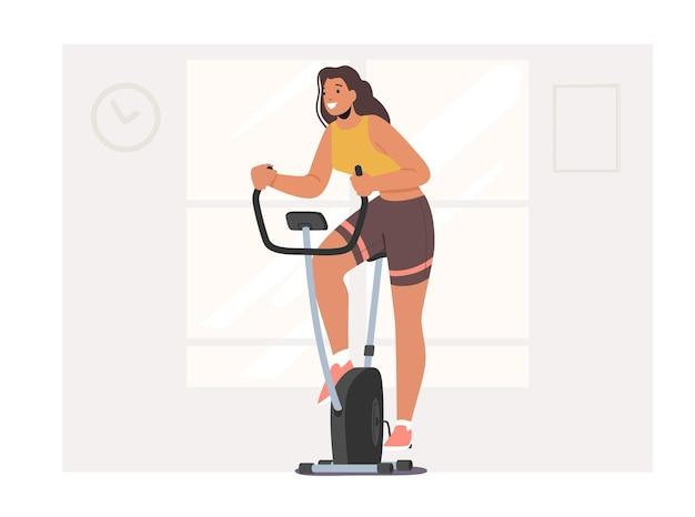 エアロバイクでジムでトレーニングする女性。スポーツライフスタイルワークアウト、フィットネスクラブで有酸素運動をしている健康な女性キャラクター、サイクリングスポーツ趣味、減量。漫画の人々のベクトル図