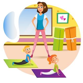 Woman training kids boy girl stretch on floor mat