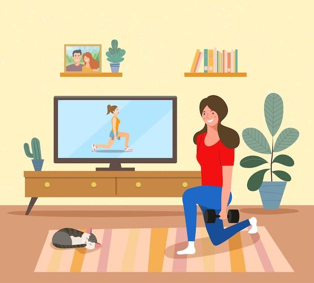 Тренировка женщины во время домашней тренировки фитнес-программы в гостиной. векторная иллюстрация