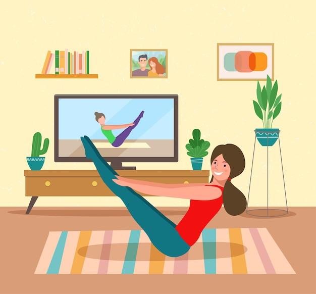Тренировка женщины во время просмотра программы фитнеса. векторная иллюстрация