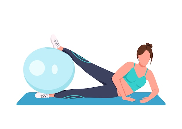 Woman training with swiss ball flat color faceless character