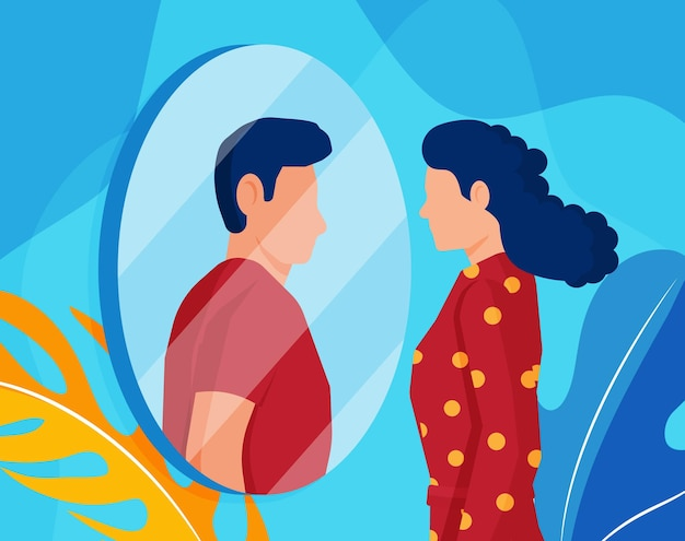 거울을보고 남자를 보는 여자 트랜스 젠더. 상상의 반사, 트랜스젠더 리즘의 개념.