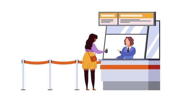 女性旅行登録空港ターミナル。航空券と書類、乗客登録、荷物を持って待っている飛行機の出発旅行者現代のフラット漫画ベクトルの概念