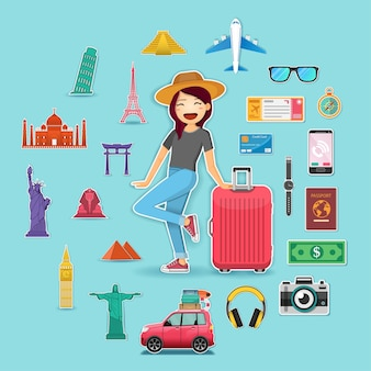 Woman traveler and accessories travel