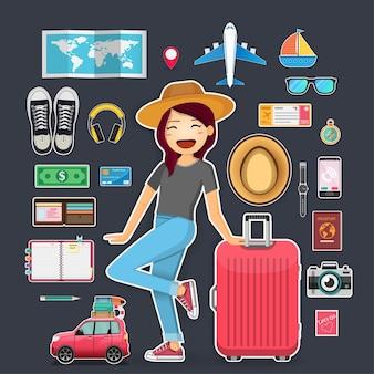 女性旅行者およびアクセサリー旅行