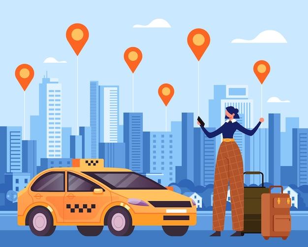 タクシーモバイルインターネットオンラインアプリと待機中の車フラットで注文する女性旅行者のキャラクター