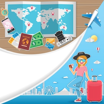 여자 여행자 세계 개념 여행.
