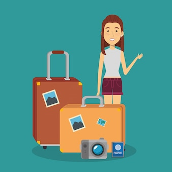 Woman traveler with suitcases characters