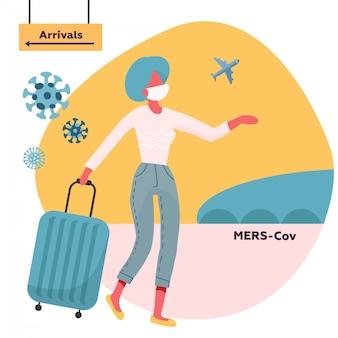 의료 얼굴 마스크와 여행 가방 도착 방향에서 이동으로 여행하는 여자. 코로나 바이러스 경고. 무한 바이러스 발생. 유행성 질병 .mers-cov 중동 호흡기 증후군 코로나 바이러스