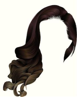 Женщина модный длинный вьющийся парик темных коричневых волос. красота мода. реалистичный 3d.