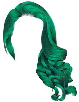 Модные длинные вьющиеся волосы женщины, изолированные на белом фоне