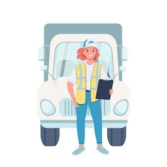 여자 트럭 운전사 평면 색상 자세한 문자. 직장에서의 성 평등. 웹 그래픽 디자인 및 애니메이션에 대한 차량 격리 된 만화 일러스트와 함께 쾌활 한 여성 트럭 운전사