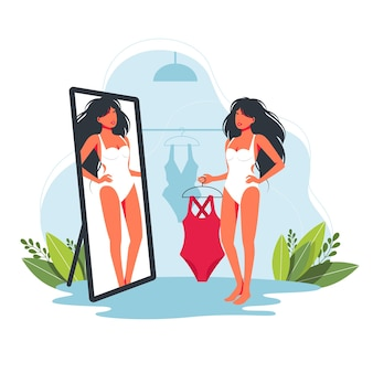가게에서 융합된 전체 수영복을 입어보고 있는 여자. 여자 쇼핑 수영복입니다. 열대 리조트에서 여름 휴가를 위해 수영복을 선택하는 아름다운 소녀. 거울 앞에서 수영복을 시도하는 만화 여성