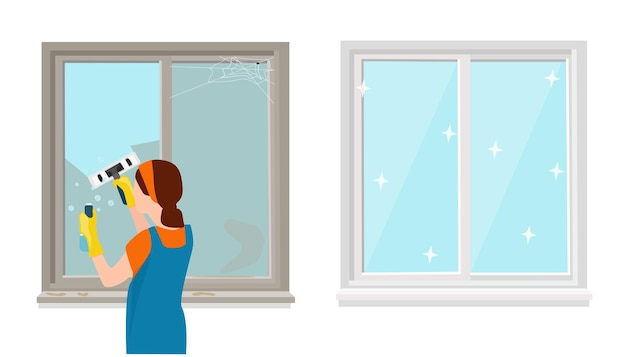 A woman in a uniform washes the windows with detergent. a clean and dirty window.  vector