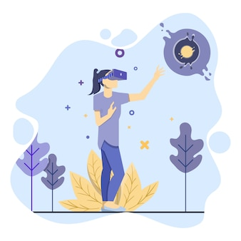 Woman use virtual reality illustration concept