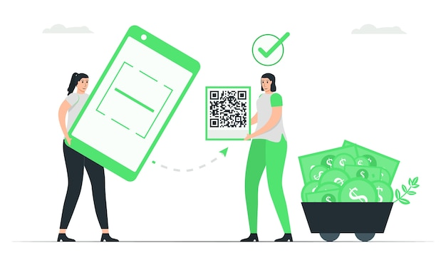 여자는 돈을 지불하기 위해 qr 코드를 스캔하는 응용 프로그램을 사용합니다. 전자 지불 개념의 최소 녹색 단색 디자인.
