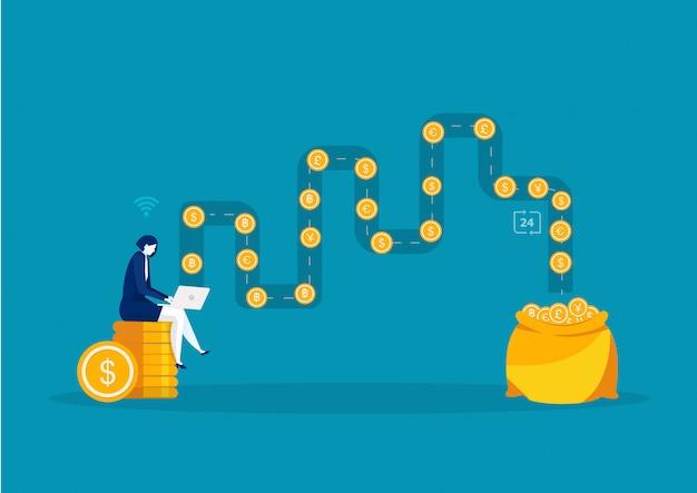 Женщина, используя ноутбук делает онлайн обмен валюты с концепцией заработанных денег