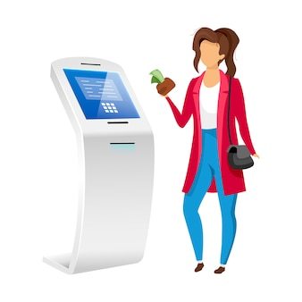 Woman using bank terminal flat color faceless character. girl with money near automated teller machine isolated cartoon illustration on white background. cash self service equipment