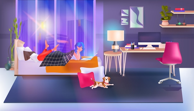 Woman using chatting app on laptop social media network online communication concept bedroom interior full length horizontal vector illustration