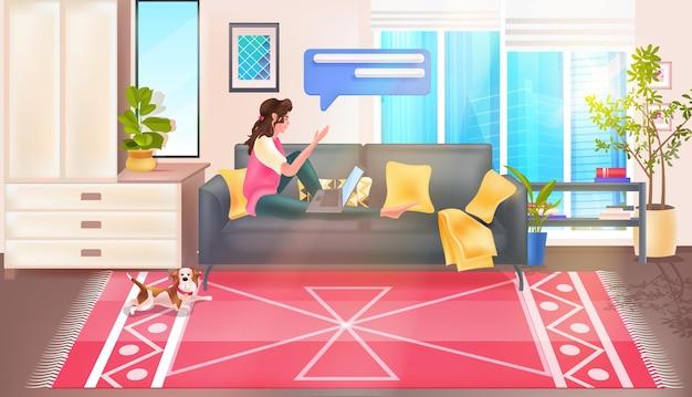 Woman using chatting app on laptop social media network online communication concept living room interior full length horizontal vector illustration