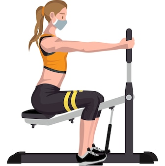 Woman using chest fly machine illustration