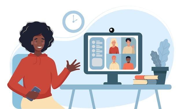 집단 가상 회의 및 그룹 화상 회의를 위해 컴퓨터를 사용하는 여성. 온라인 친구와 채팅하는 데스크톱에서 여자입니다. 화상 회의, 원격 작업, 기술 개념에 대한 벡터 일러스트 레이션