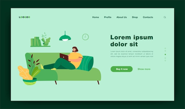 Woman using computer to surf internet landing page template