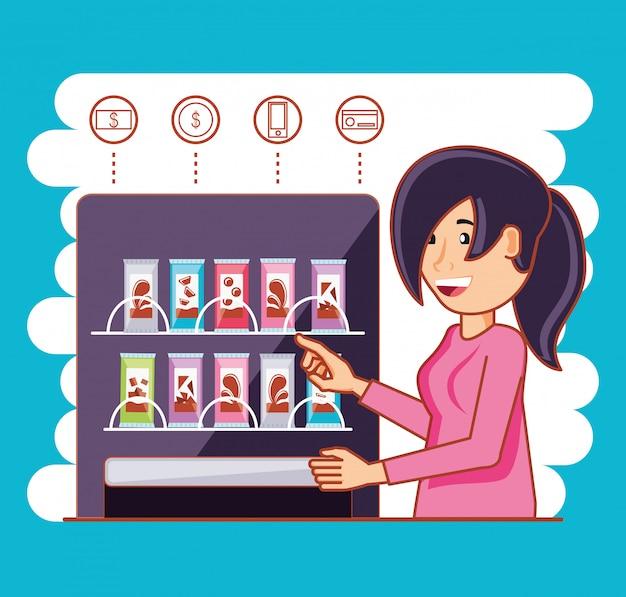 Женщина с помощью диспенсера конфет машина электронная