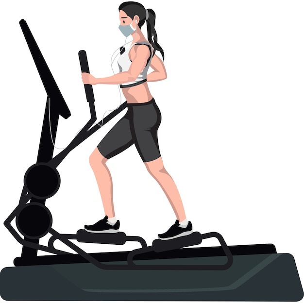 A woman using an elliptical machine