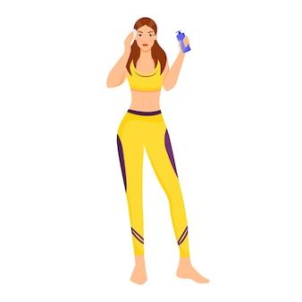 Женщина, использующая лицо пены плоский цвет безликий персонаж. девушка очищая кожу лица изолировала иллюстрацию шаржа для веб-графического дизайна и анимации. шаг ежедневного ухода за женской кожей