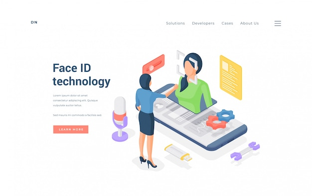 Woman using face id tecnology. isometric female using face id app on modern smartphone on banner of data protection website