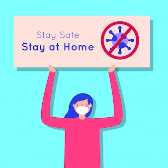 Woman using face mask for covid19 with stay at home banner