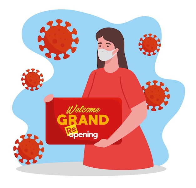 Woman using face mask with label of welcome grand reopening, open after quarantine due to covid19.