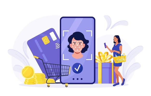 지불을 위해 얼굴 인식 기술을 사용하는 여성. 소녀는 얼굴 생체 인식 응용 프로그램을 사용하여 시스템에 로그인하여 구매합니다. 스마트폰 아이디 보안 시스템. 클라이언트 온라인 쇼핑