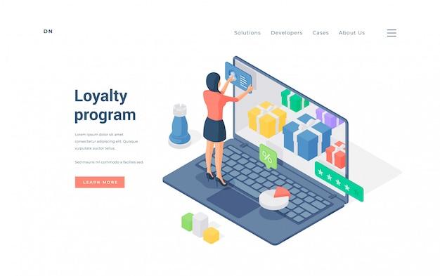 Woman using internet store loyalty program   illustration