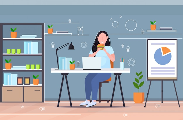 Woman using laptop eating burger fast food unhealthy lifestyle concept overweight girl sitting at workplace modern office interior flat full length horizontal
