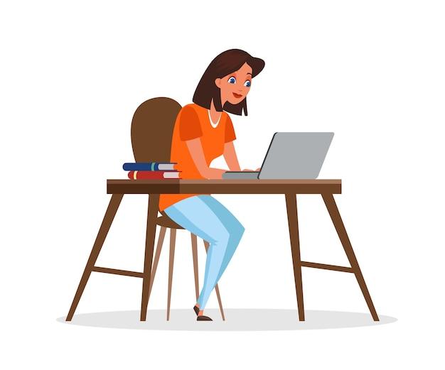 ノートパソコンのイラストを使用している女性。机に座っている女の子。フリーランサーの漫画のキャラクター。コンピューターのクリップアートで働く女性