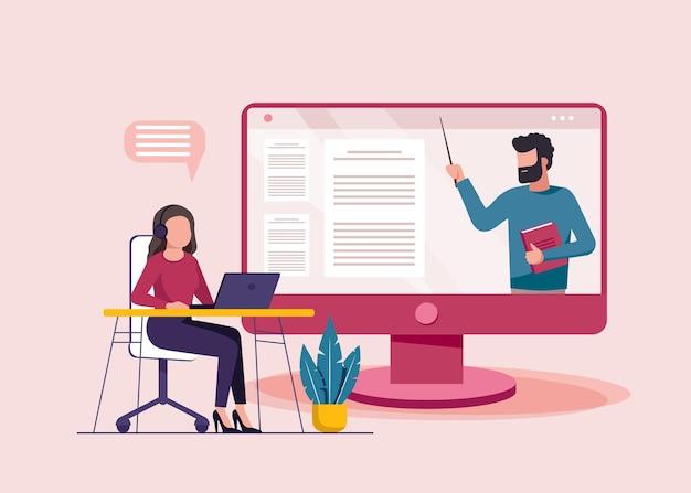 Женщина, использующая ноутбук, онлайн-образование
