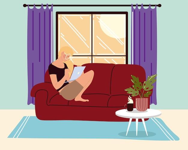 リビングルームのソファに座ってラップトップを使用して、家のイラストに仕事をする女性