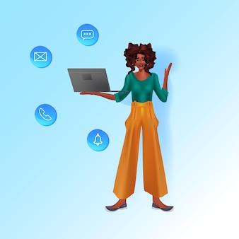 Женщина, использующая ноутбук социальных сетей сети онлайн-коммуникации концепции полной длины