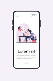 Woman using laptop and talking to friend. video call, speech bubble, tea cup flat vector illustration. communication, online video chat concept mobile app template