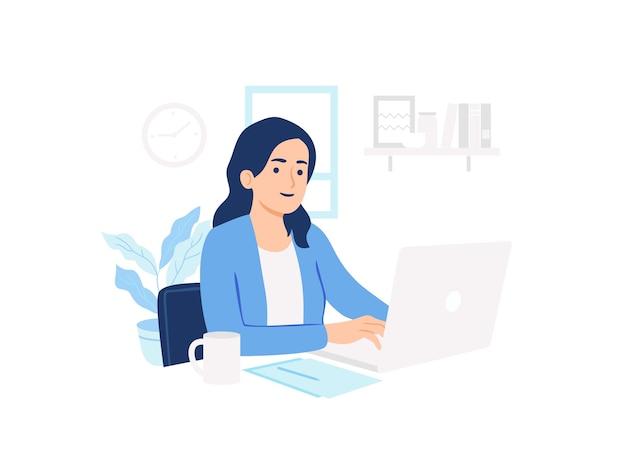 Женщина с помощью ноутбука работает дома концепции иллюстрации
